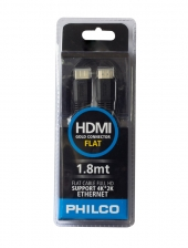 Cable HDMI - HDMI Flat 1.8mt Negro Philco
