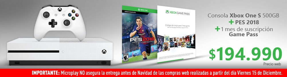 Consola Xbox One S + PES 2018