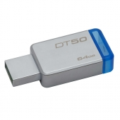 Pendrive, Data, Traveler, 64GB, DT50, Metal, blue, azul, Kingston,
