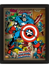 Poster 3D Marvel Retro Captain America