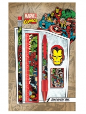 Set, Escritorio, Marvel, Comics, Iron Man, ironman, SR71693, lápiz, goma, regal, sacapunta